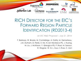RICH Detector for the EIC's Forward Region Particle Identification  (RD2013-4)