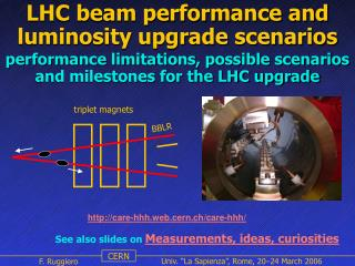 LHC beam performance and luminosity upgrade scenarios