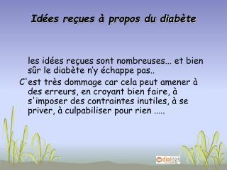 Idées reçues à propos du diabète