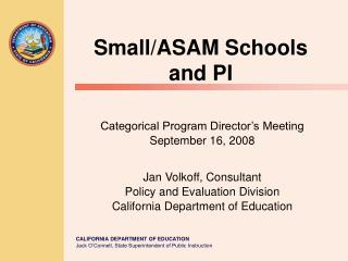 Small/ASAM Schools and PI