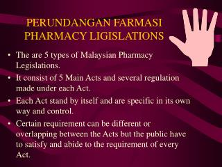 PERUNDANGAN FARMASI PHARMACY LIGISLATIONS