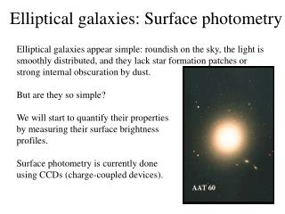 Elliptical galaxies:  Surface photometry