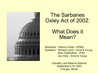 The Sarbanes Oxley Act of 2002: What Does it Mean?
