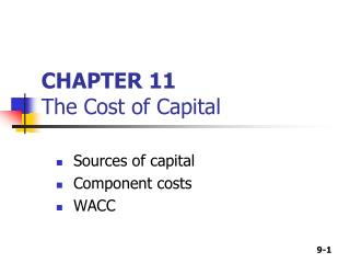 CHAPTER 11 The Cost of Capital
