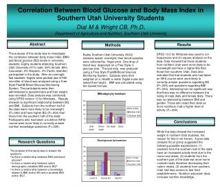 Correlation Between Blood Glucose and Body Mass Index in Southern Utah University Students Dial M  Wright CB, Ph.D. Depa