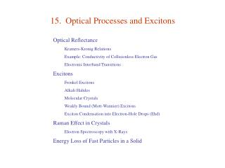 15.  Optical Processes and Excitons