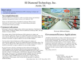 SI Diamond Technology, Inc. Austin, TX