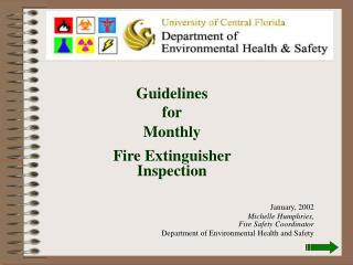 Guidelines  for Monthly  Fire Extinguisher Inspection