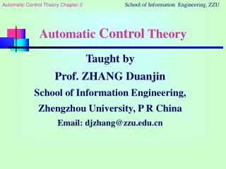 Automatic  Control  Theory