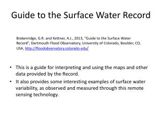 Guide to the Surface Water Record