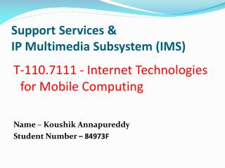 Support Services & IP Multimedia Subsystem (IMS)