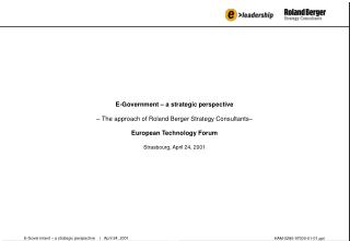 E-Government – a strategic perspective     |   April 24, 2001