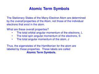 Atomic Term Symbols