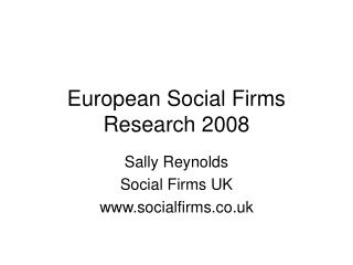 European Social Firms Research 2008