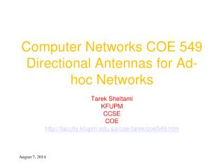 Computer Networks COE 549 Directional Antennas for Ad-hoc Networks