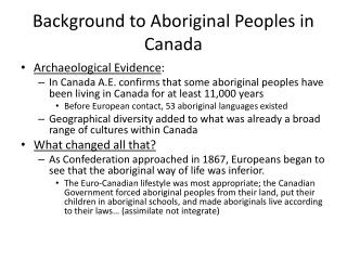 Background to Aboriginal Peoples in Canada