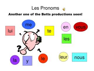 Les Pronoms Another one of the Betts productions seen!