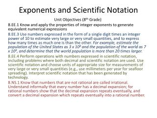 Exponents and Scientific Notation