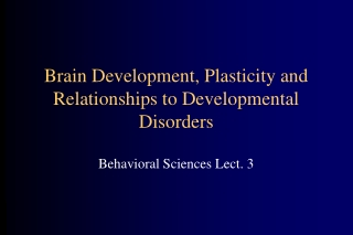 Brain Development, Plasticity and Relationships to Developmental Disorders