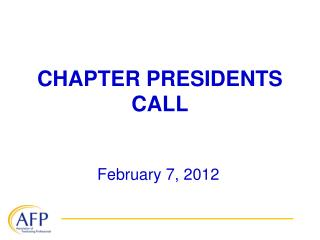CHAPTER PRESIDENTS CALL