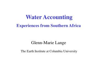 Natural Resource Accounting Programme in East & Southern Africa