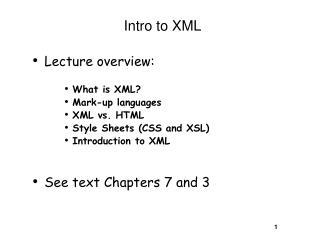 Intro to XML