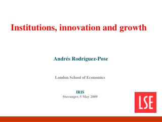 Institutions, innovation and growth
