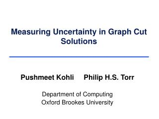 Measuring Uncertainty in Graph Cut Solutions