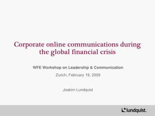 Corporate online communications during the global financial crisis