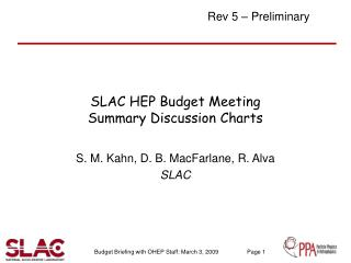 SLAC HEP Budget Meeting Summary Discussion Charts