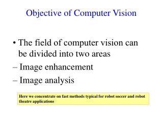 Objective of Computer Vision