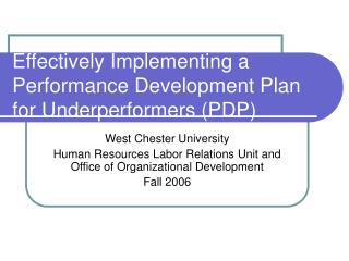 Effectively Implementing a Performance Development Plan for Underperformers (PDP)