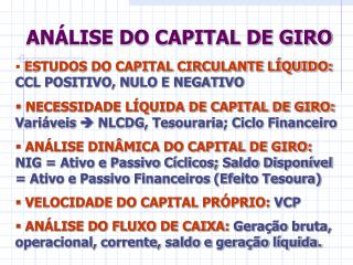 ANÁLISE DO CAPITAL DE GIRO