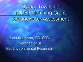 Byram Township NJDEP Matching Grant Groundwater Assessment