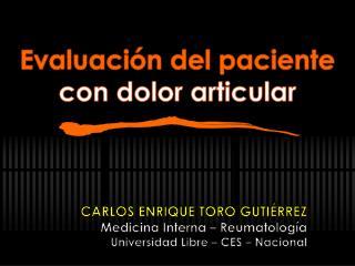 Evaluación del paciente  con dolor articular