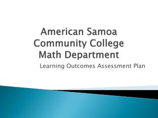 American Samoa Community College Math Department