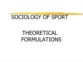 SOCIOLOGY OF SPORT THEORETICAL FORMULATIONS
