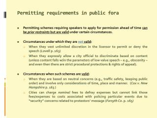 Permitting requirements in public  fora