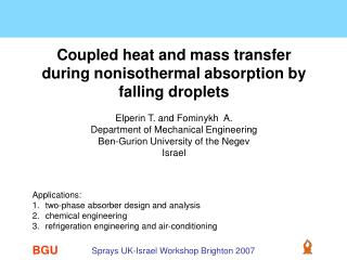Coupled heat and mass transfer during nonisothermal absorption by falling droplets