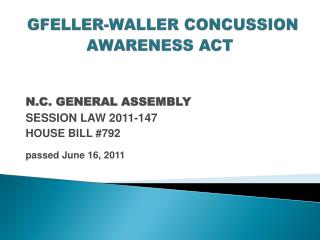 GFELLER-WALLER CONCUSSION AWARENESS ACT