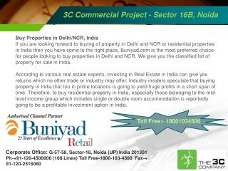3C Commercial Project Noida Call @ Toll Free:- 18001034500