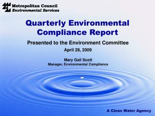 Quarterly Environmental Compliance Report