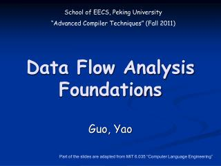 Data Flow Analysis Foundations