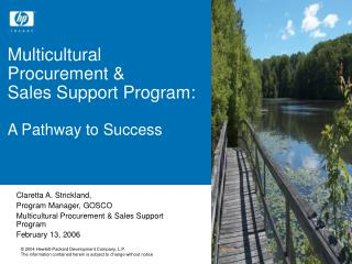 Multicultural Procurement &  Sales Support Program: A Pathway to Success