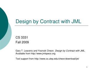 Design by Contract with JML
