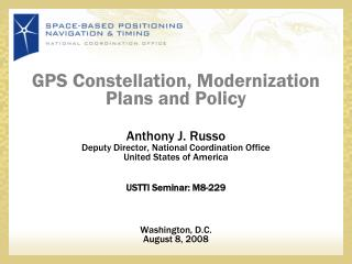 GPS Constellation, Modernization Plans and Policy