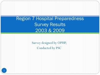 Region  7 Hospital Preparedness  Survey  Results 2003 & 2009
