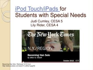 iPod Touch/ iPads for  Students with Special Needs