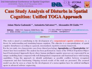 Case Study Analysis of Disturbs in Spatial Cognition: Unified TOGA Approach