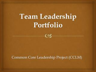 Team Leadership Portfolio